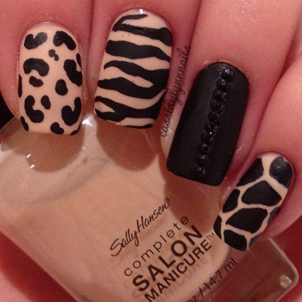 Animal print mixup nail art design