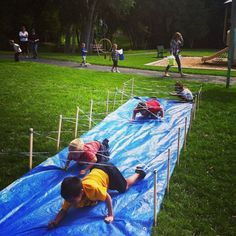 Kids bday idea - obstacle course!  Inspired by Tough Mudder - the Barbwire Crawl!