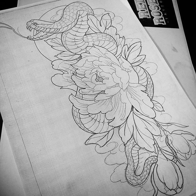 Citas disponibles en @redrosestattoo #tattoo #tattoos #snake #peony #draw #desing #japanesetattoo ...