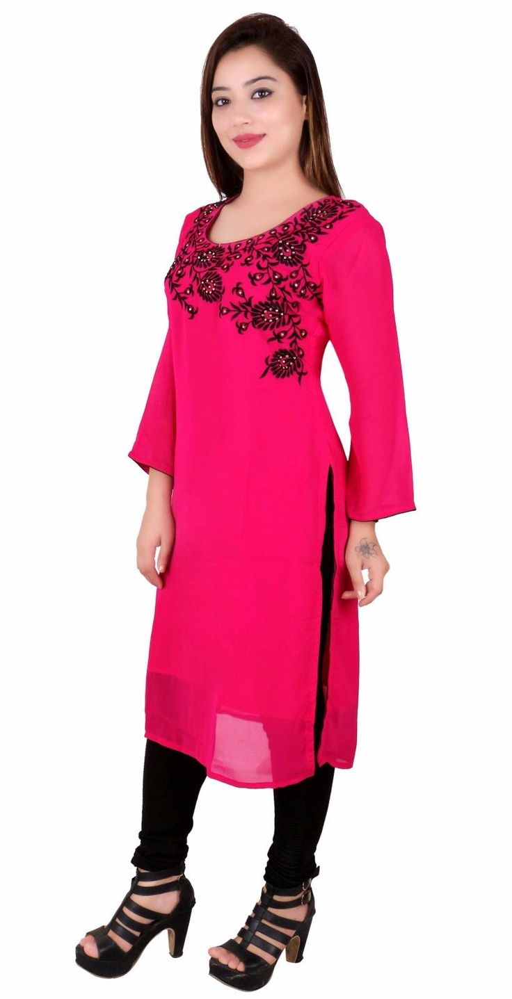 Indian Long Kaftan Tunic Top For Bollywood Theme Party Costume Womens Kurti 7017