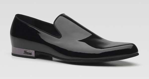 Gucci Men Shoes – Black Patent Leather Moccasins
