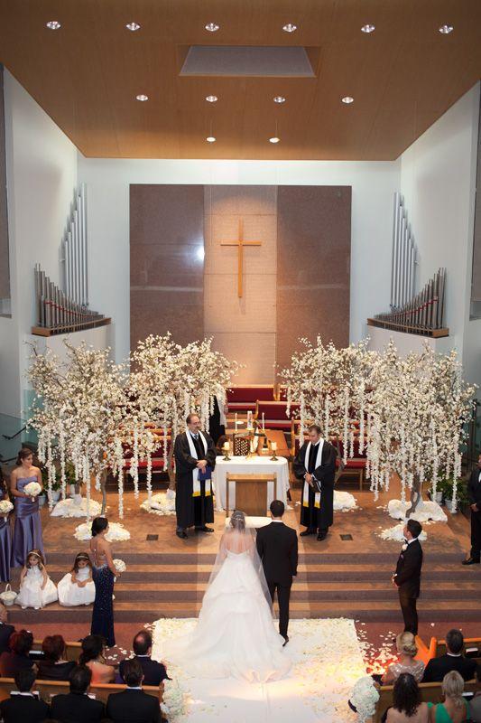 93 best church wedding images on pinterest church decorations white tree decor at church ceremony junglespirit Choice Image