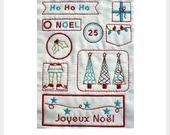 Planche d'embellissements brodés Thème Noël - Ho Ho Ho n°1 : Embellissements par melubrode