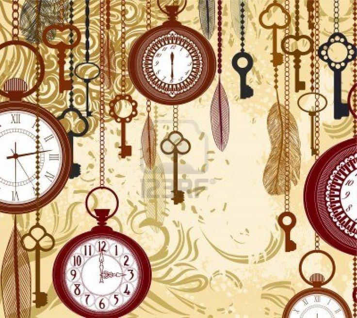 Vintage sfondo grungy con chiavi e orologi Archivio Fotografico - 11881733