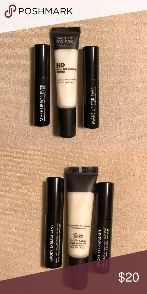 🆕🆕🆕🔥Makeup Forever bundle🔥 -2 Makeup Forever SMOKY EXTRAVAGANT VOLUME, UP CLOSE PRECISION MASCARA .13fl Oz -Makeup Forever HD Primer .5fl Oz Makeup Forever Makeup Face Primer