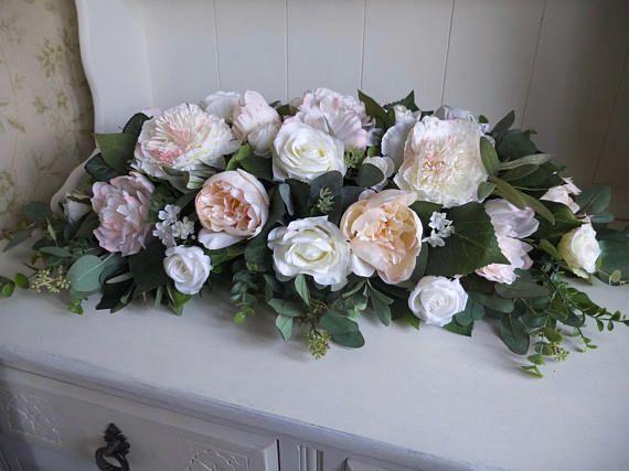 Pink And Ivory Silk Flower Table Arrangement Etsy Silk