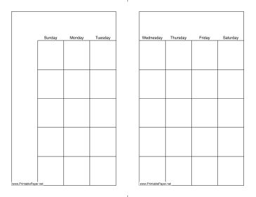 This printable monthly calendar prints on a letter-size page but is formatted to be cut in half and used as two smaller pages. Free to download and print