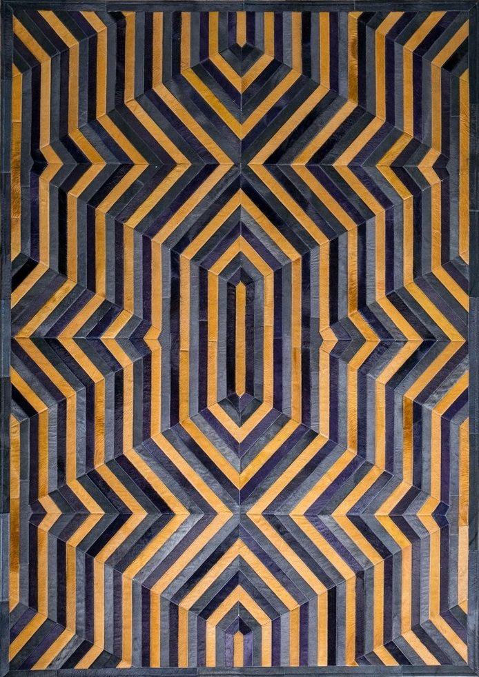 Elysium Fr 1 087 Elegance Rugs Elegancehides Black Purple Yellow Gold Handmade Rectangle Area Art Deco Rugs Patchwork Cowhide Geometric Carpet Design