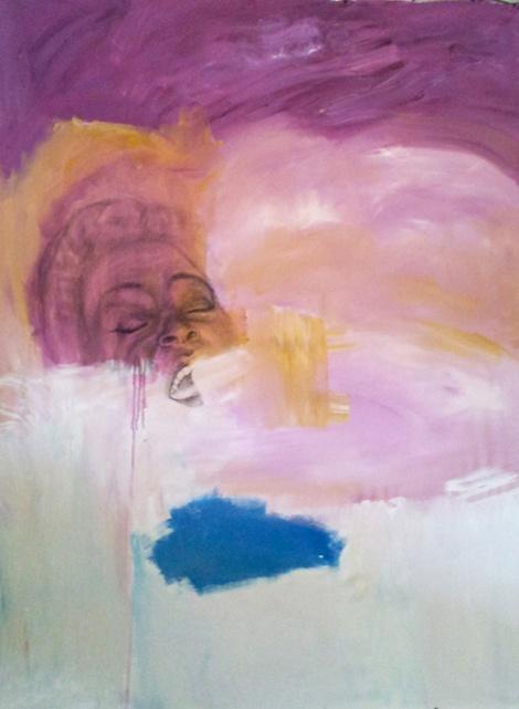 "Sharon Jones I, acrylic painting 44x58"" by Rima Muna"