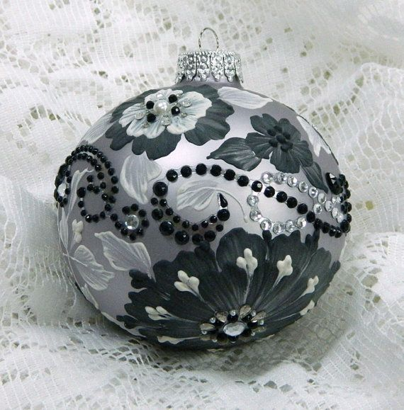 Soft Silver, White and Black Hand Painted 3D Floral MUD Ornament with Bling 60 via Etsy