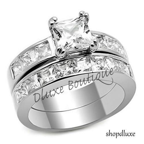 375 Ct Princess Cut AAA CZ Stainless Steel Wedding Ring Set Womens Size 5 10