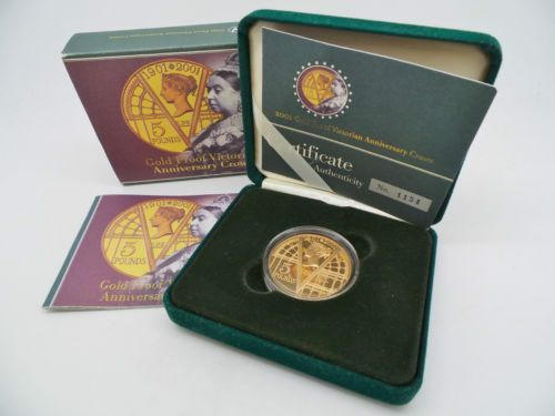 2001-22ct-Gold-Proof-Victorian-Anniversary-5-Coin-Crown-in-Box-of-Issue