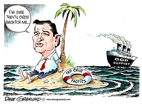 Ted Cruz upsets GOP © Dave Granlund,Politicalcartoons.com,Republicans, Ted Cruz, Texas, Senator, anger, talk-a-thon, talk, defund obamacare, government shutdown, shut down, budget, GOP, fraud, whacko, wacko, green eggs and ham, star wars, darth vader, empire,