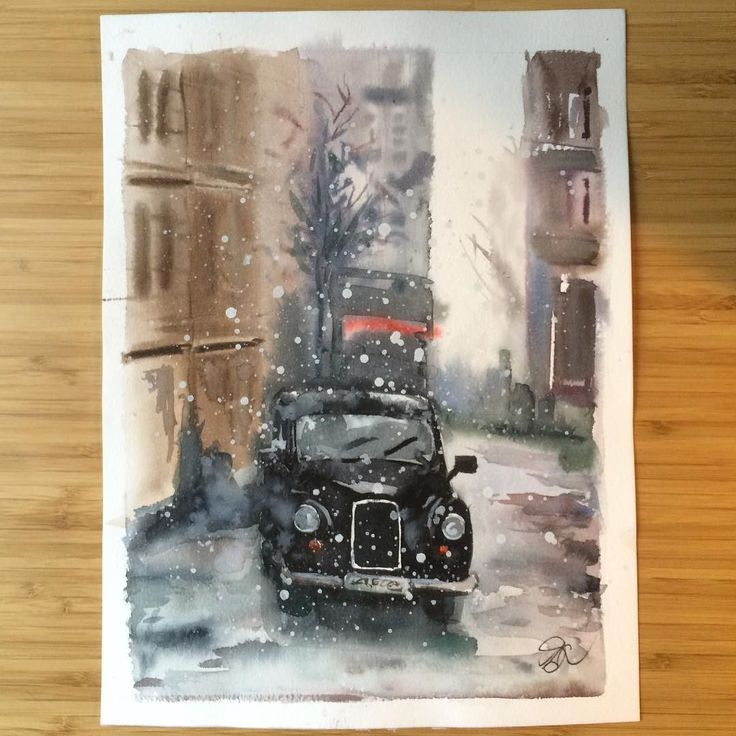 Winter watercolor. I've even bought new cool brushes and can't wait to try them in my next painting. . . . #watercolourpainting #happycolors #drawingtime #colortherapy #artismylife #londoncars #artsharing #showyourwork #illustratorsofinstagram