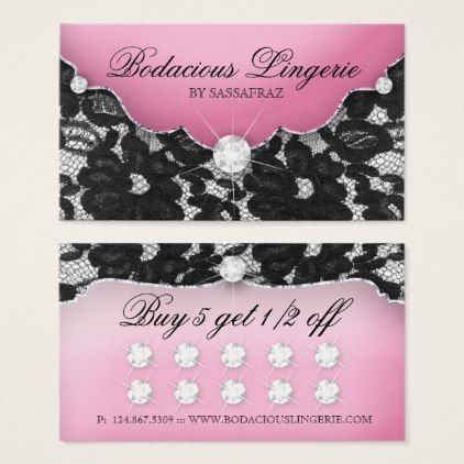 Lingerie Loyalty Card Lace Pink Jewelry - elegant gifts gift ideas custom presents