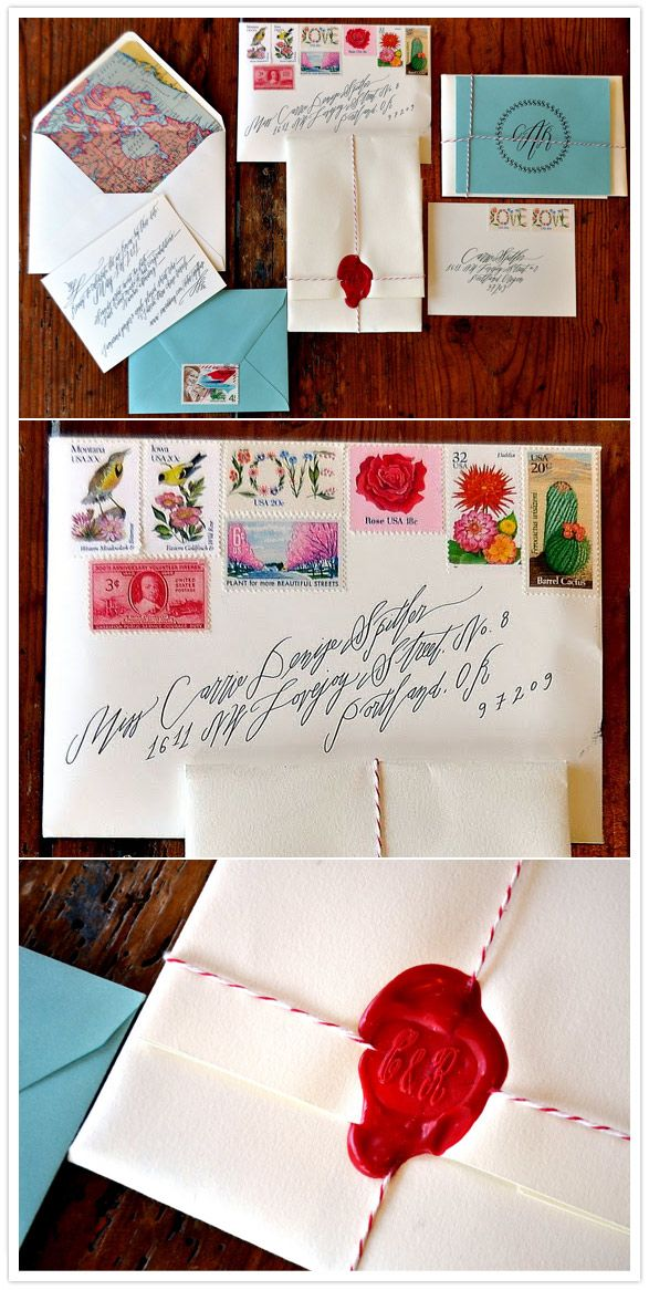 vintage stamps + wax seal: Seals Wax, Baker Twine, Travel Inspiration Wedding, Vintage Stamps, Envelope, Wax Seals Stamps, Wedding Invitations, Pens Pals Letters, Snails Mail
