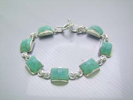 925 Sterling Silver Bracelet w/ Semi-Circle Turquoise Gems (Order)