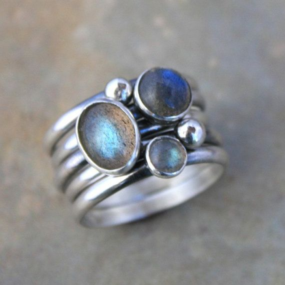 Stacking Rings Labradorite Sterling Silver Set of 5 by KiraFerrer, $95.00