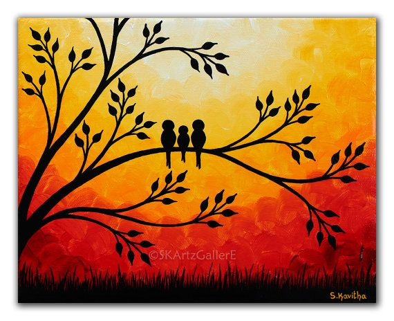 Sunset painting Family of birds art, Giclee print of Original painting, Yellow orange red canvas art Birds on tree wall art 8×10 print
