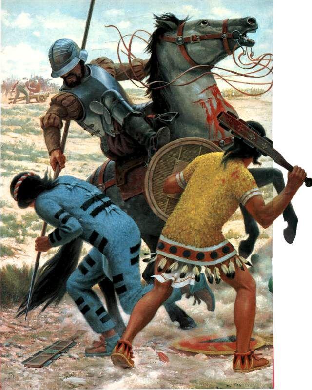 rond 1450 had Spanje ook de Inca's verslagen, ze waren nu de baas in Midden- en oost Amerika