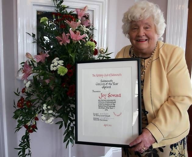 Joy Seward with her Citizen of the year award. Joy and her husband Colin ran the Kingswood Hotel in Sidmouth. I use to go there every summer with my parents from being 6 to 14.