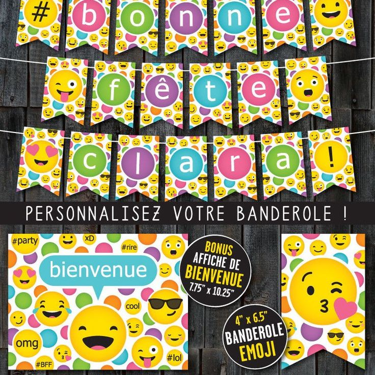 """Banderole """"Bonne Fête"""", """"Joyeux Anniversaire"""" ou """"Happy Birthday"""" thème Emoji. Avec affiche de bienvenue en prime :)"""