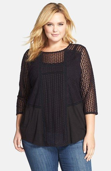 Lucky Brand Mixed Lace Top (Plus Size) | Nordstrom