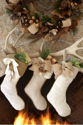 Interesting way to hang stockings or incorporate antlers in Xmas decorations