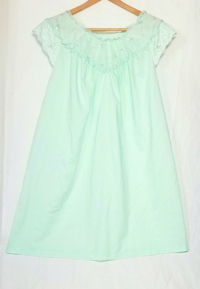 dee8cfb69d Sears Perma-Prest Green Gown Nightgown Size 40 42 Lace Floral Bodice  Sleeves VTG  Sears  Gowns  Everyday