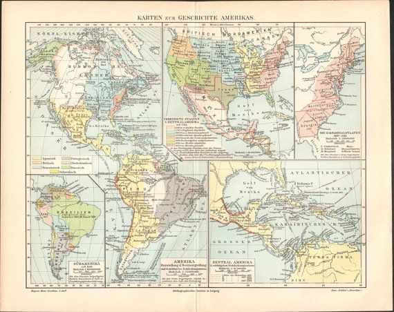 1897 Maps of American History Antique Map at KuriosartAntique
