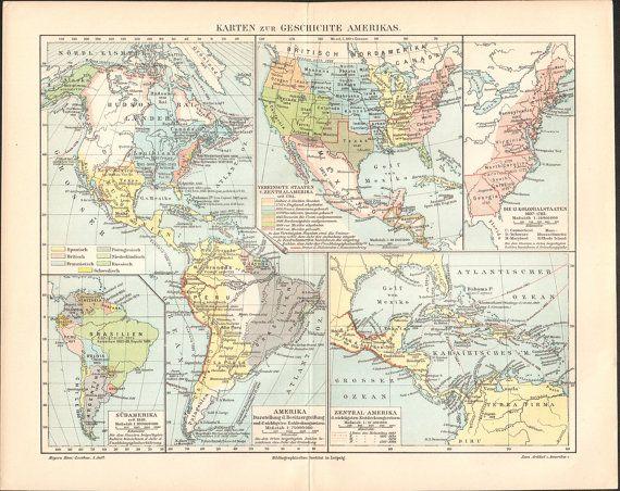 1897 Maps of American History Antique Map at KuriosartAntique