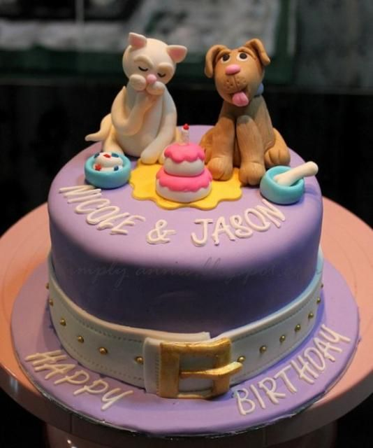 Dog And Cat Theme Birthday Cake For Twins