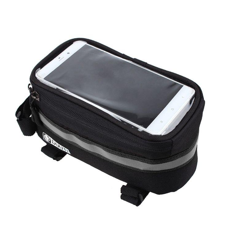 Schwarze Outdoor Radfahren Mountainbike Fahrradrahmen U-packtaschen Wasserdichte Touchscreen-telefon-kasten Reflektierende Bag Basket