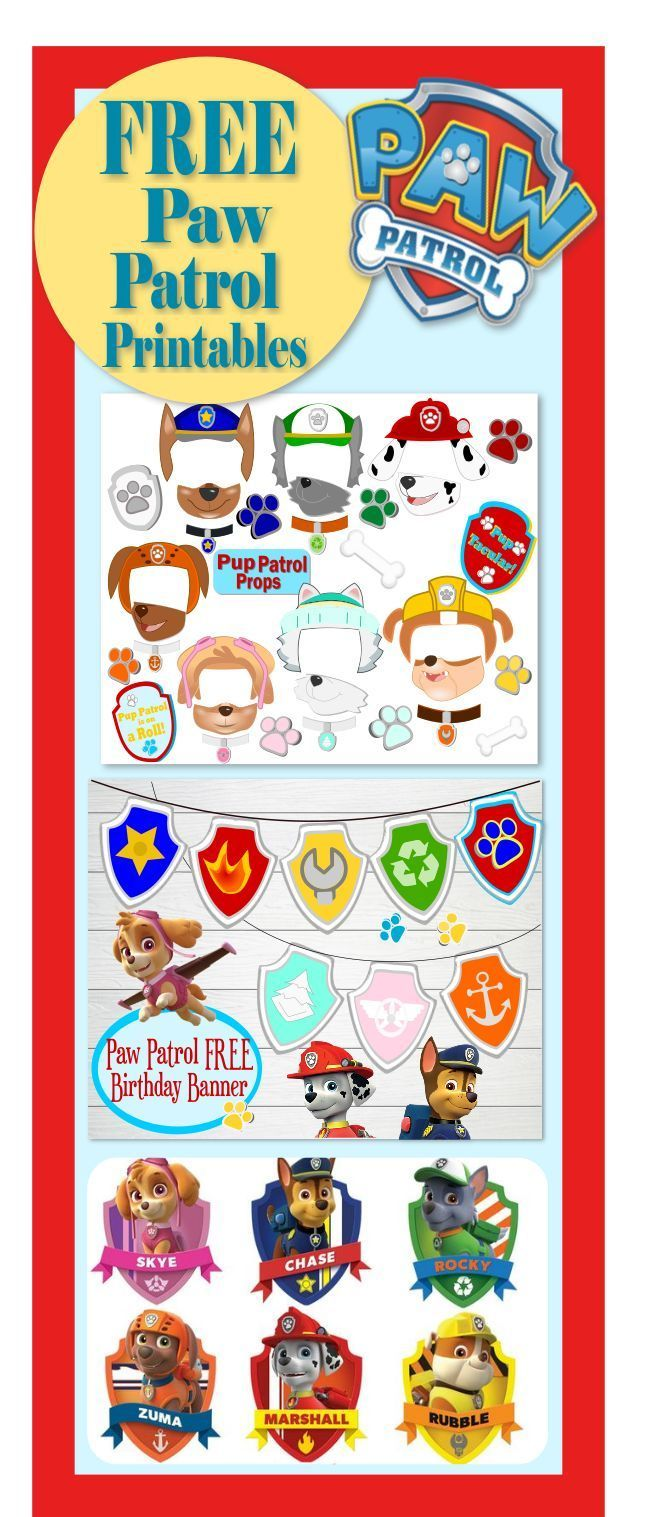 Free printouts for the Paw Patrol Party. Free Paw Patrol Photo Props.Kids birthday party ideas. #Party