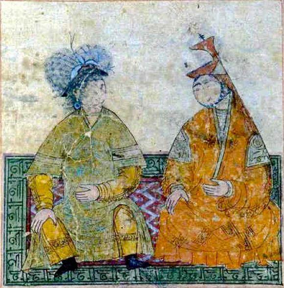 Ilkhanid period. Tabriz. 1300-1320. Hulagu Khan and wife Doquz