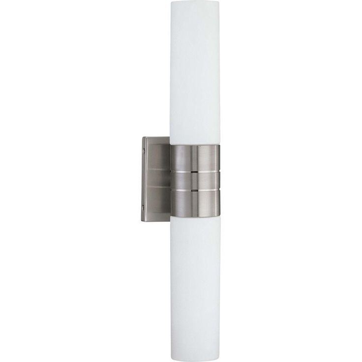 Glomar Loreley 2 Light Brushed Nickel Sconce With White Glass