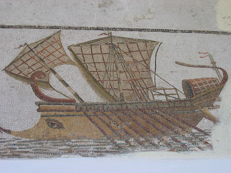 """Etruscan trireme with the Etruscan tradition of having an """"EYE"""" in front to ward evil. Mosaic. Bardo Museum"""