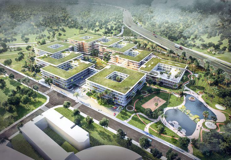 Woodlands Healthcare Campus by Merêces Architecture Vizualization Studio - Design by C.F. Møller