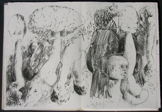 GRASS Gunter, Mit Sophie in die Pilze gegangen. Milano, Grafica Uno, 1976. Con 19 litografie originali e 9 poesie in tedesco. Prima edizione di 99+XXXVI es. numerati e firmati dall'Autore