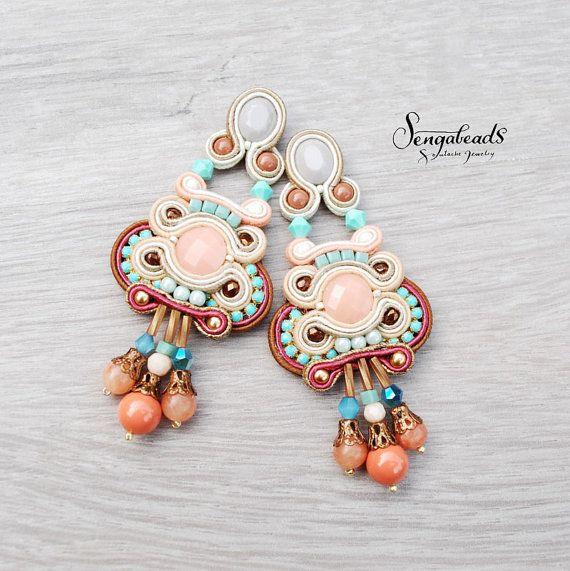 Hand embroidered soutache earrings. Stud earrings. by Sengabeads