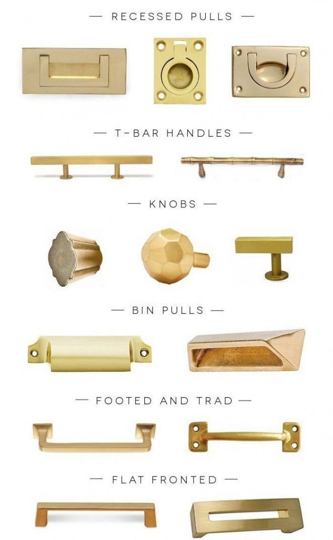 Brass Hardware for the kitchen... Nice transition to more contemporary hardware so you might not have to change out all of your fixtures?