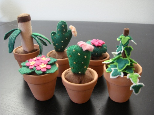 Felt mini pot plants