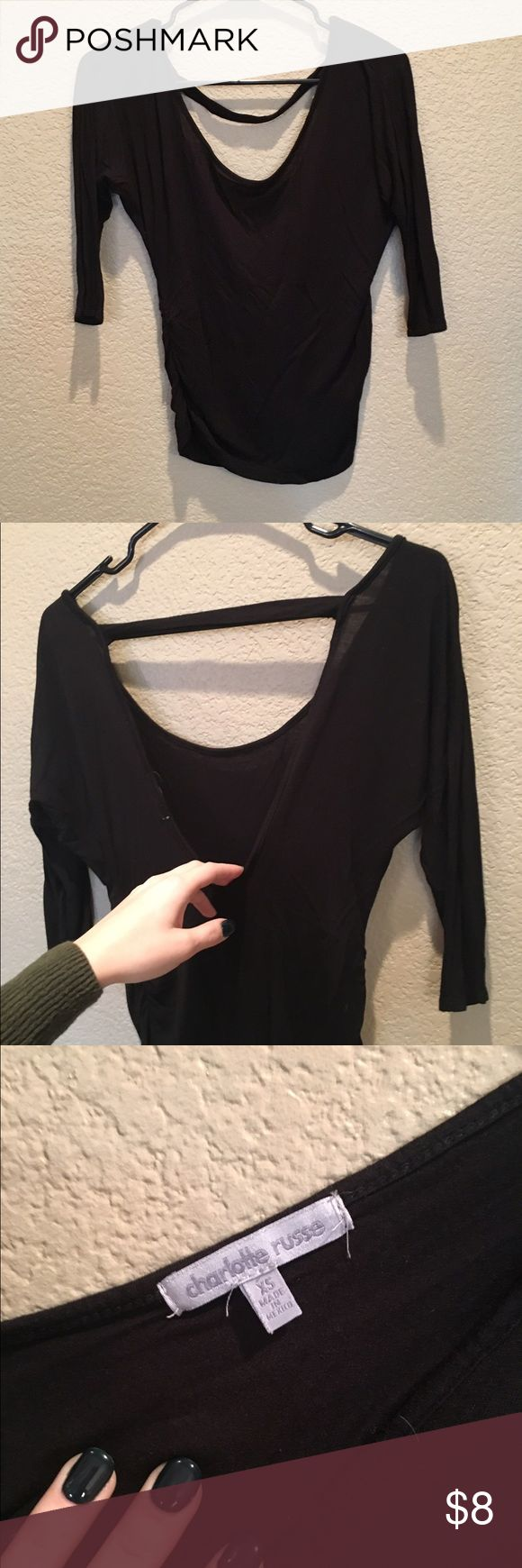 Black Low Back Shirt Charlotte Russe Kind of see through Body con  XS PacSun Tops Blouses