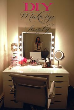 An awesome DIY Makeup Vanity - Perfect for the makeup lover because there's drawers for storage, which keeps the desktop clean!