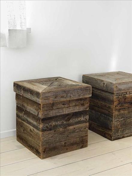 Lådor av drivved från Furillen på Gotland, design Anki Gneib/Arvesund
