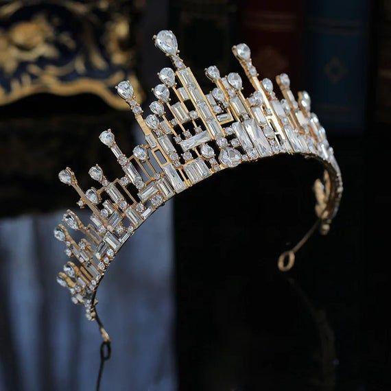 wedding Baroque Handmade Elegant Crystal Hair Crown Tiara Red Princess Rhinestone Hair Ornaments Hairband Prom Bride Wedding Accessories