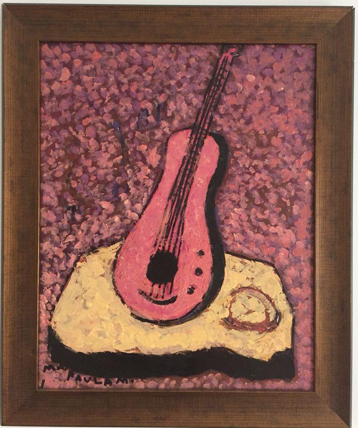 Guitar 50x60 Acrílico sobre lienzo Objeto inanimado con textura