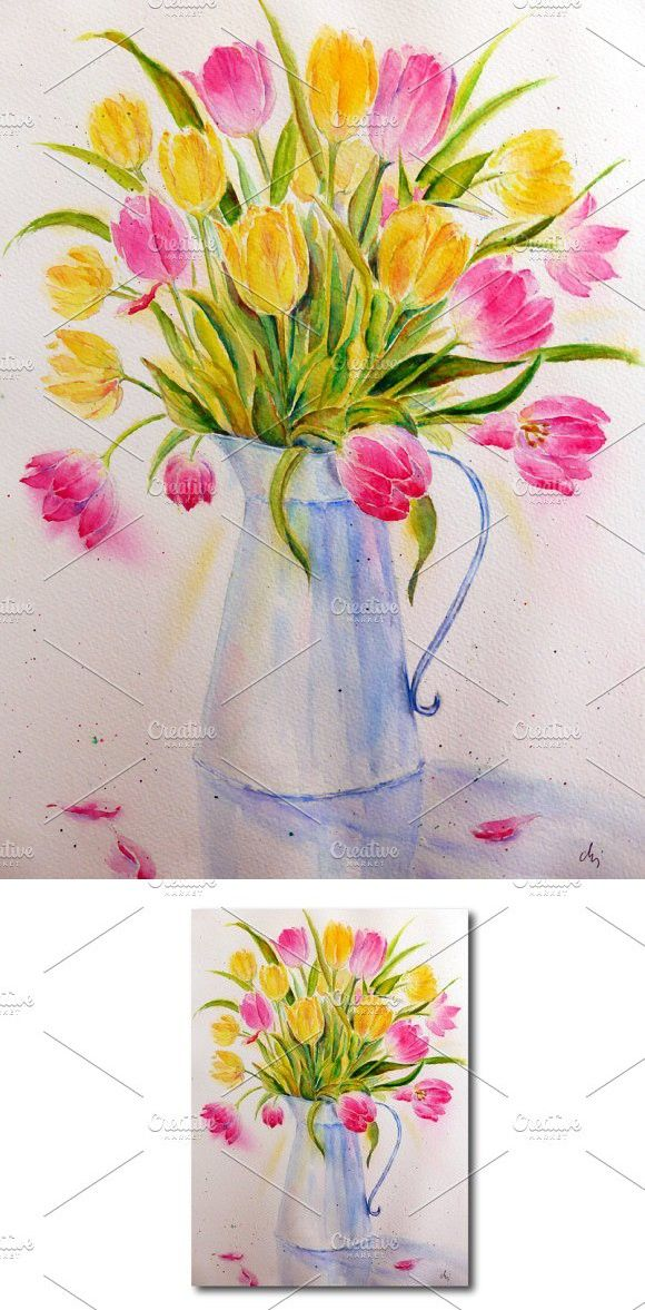 Watercolor Vase Of Tulips Flowers In Vase Painting Watercolor