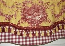 Custom Window VALANCE Curtain Rooster Waverly Toile Red Gold Check Tassel  Trim