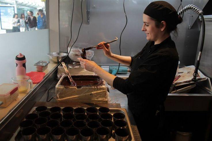 Giapo interior. Making of chocolate dessert. (: